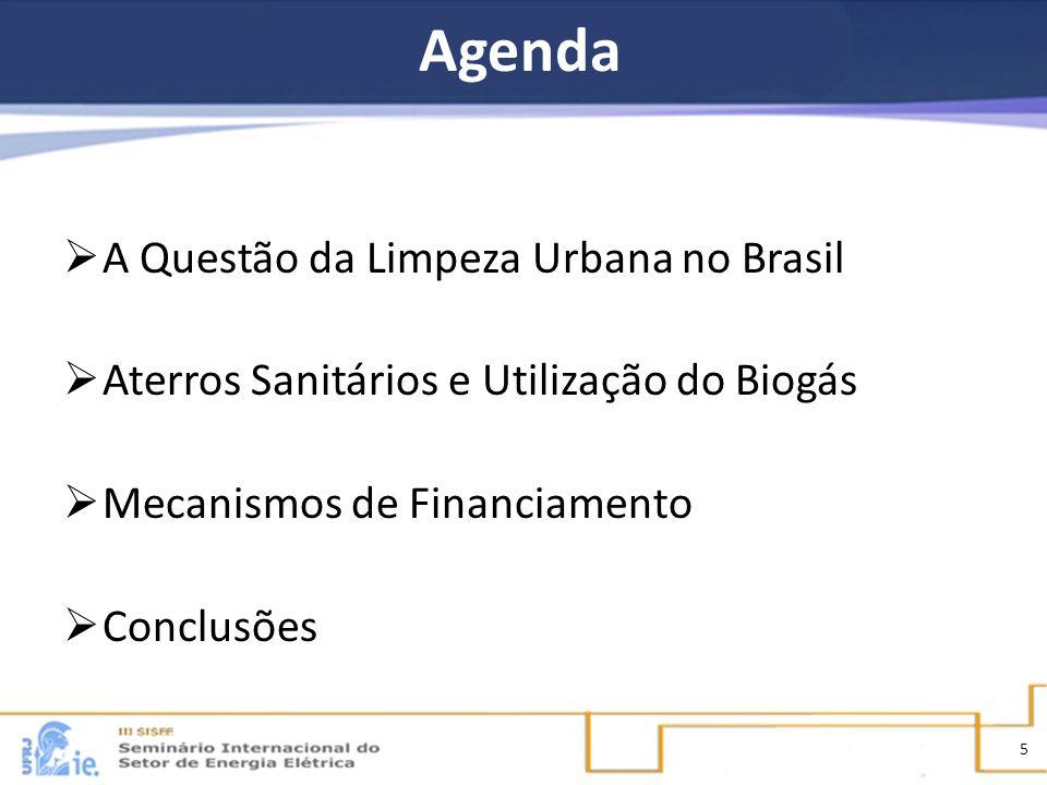 Agenda A Questão da Limpeza Urbana no Brasil Aterros Sanitários e Utilização do Biogás Mecanismos de Financiamento Conclusões 5