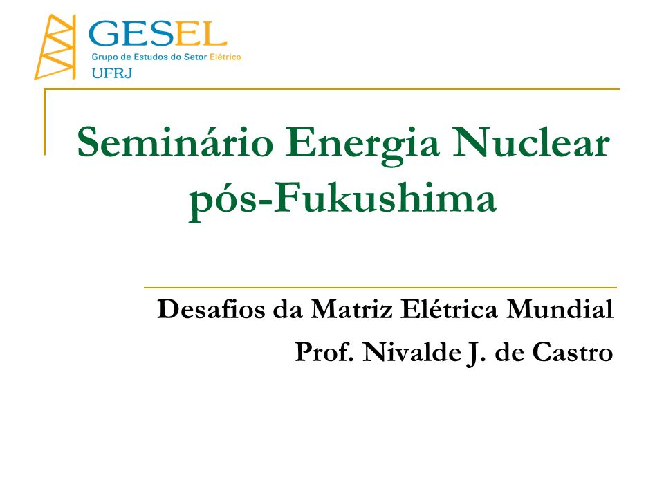 Seminário Energia Nuclear pós-Fukushima Desafios da Matriz Elétrica Mundial Prof. Nivalde J. de Castro