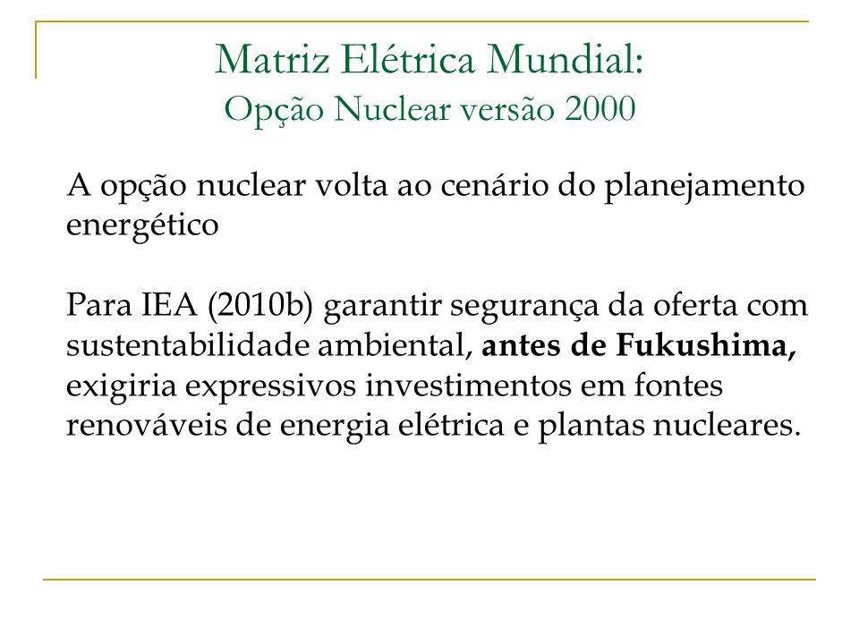 Matriz Elétrica Mundial: Opção Nuclear versão 2000 A opção nuclear volta ao cenário do planejamento energético Para IEA (2010b) garantir segurança da