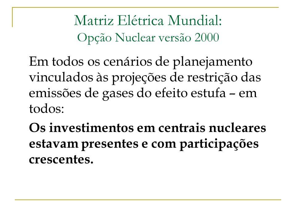 Matriz Elétrica Mundial: Opção Nuclear versão 2000 Em todos os cenários de planejamento vinculados às projeções de restrição das emissões de gases do