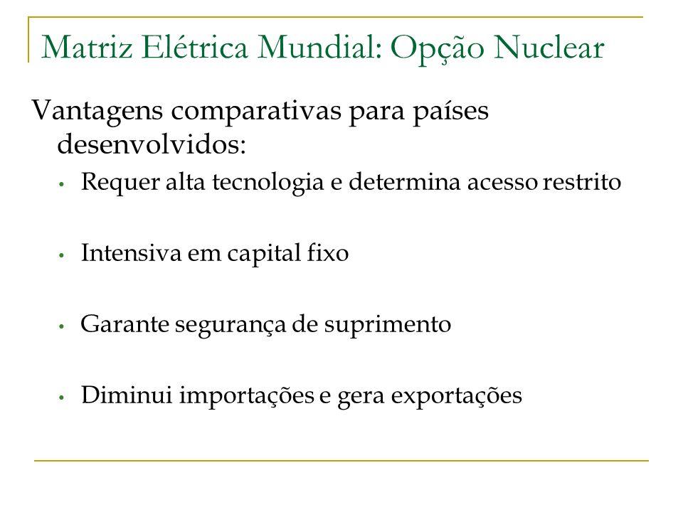 Matriz Elétrica Mundial: Opção Nuclear Vantagens comparativas para países desenvolvidos: Requer alta tecnologia e determina acesso restrito Intensiva