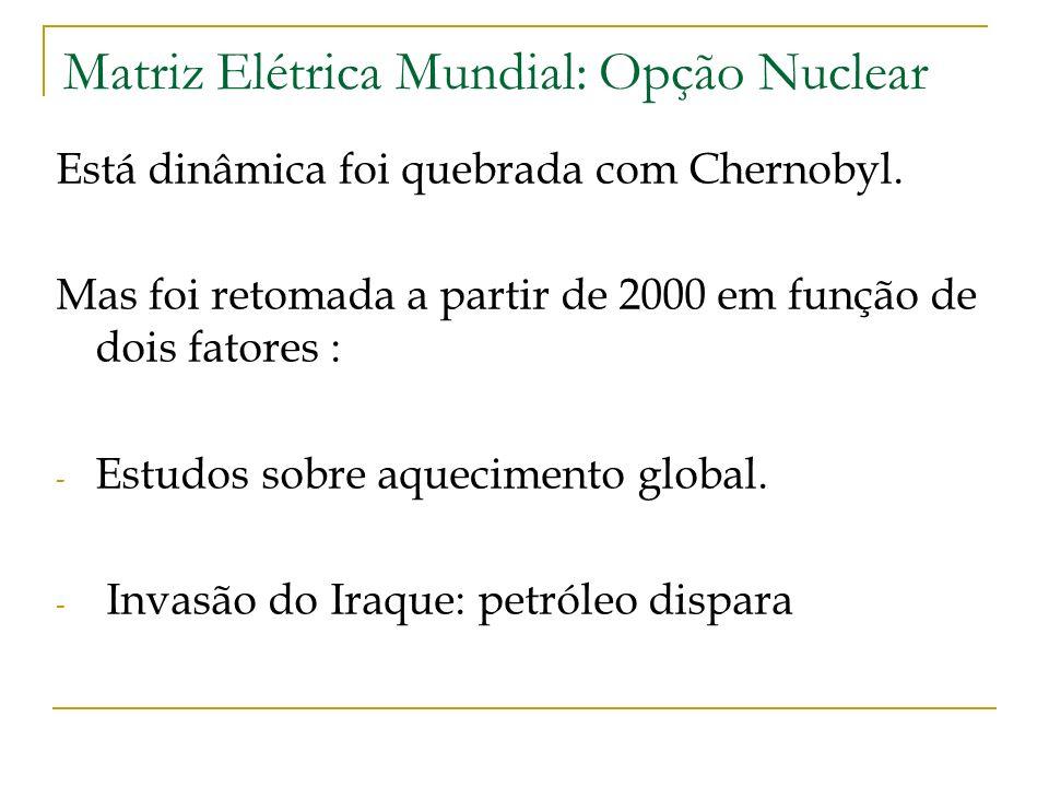 Matriz Elétrica Mundial: Opção Nuclear Está dinâmica foi quebrada com Chernobyl. Mas foi retomada a partir de 2000 em função de dois fatores : - Estud