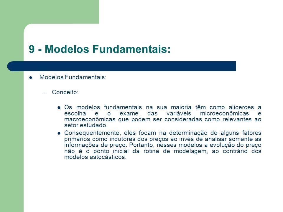10 - Modelos Híbridos: Modelos Híbridos: – Conceito: Integram modelos que visam a união de diferentes processos (como os fundamentais e os estocásticos) objetivando melhor adaptação as características do problema de previsão.