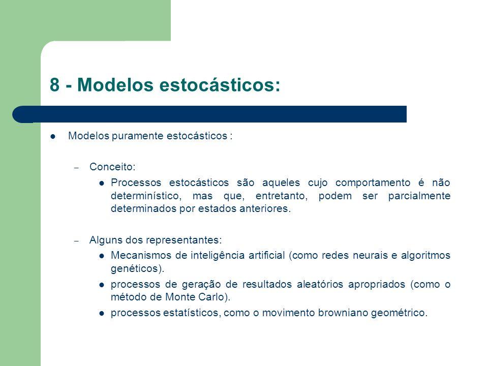8 - Modelos estocásticos (continuação): Precificação de derivativos pelo método de Black-Scholes: – Relevância: Modelo de precificação mais utilizado mundialmente para derivativos.