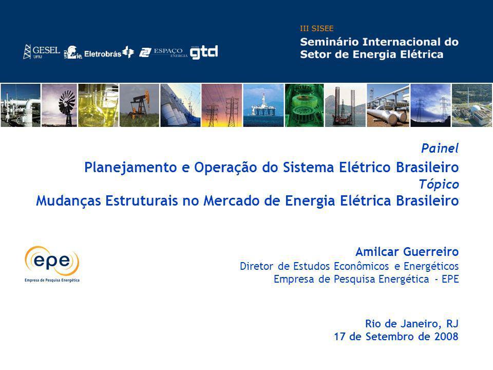 Amilcar Guerreiro Diretor de Estudos Econômicos e Energéticos Empresa de Pesquisa Energética - EPE Rio de Janeiro, RJ 17 de Setembro de 2008 Painel Pl