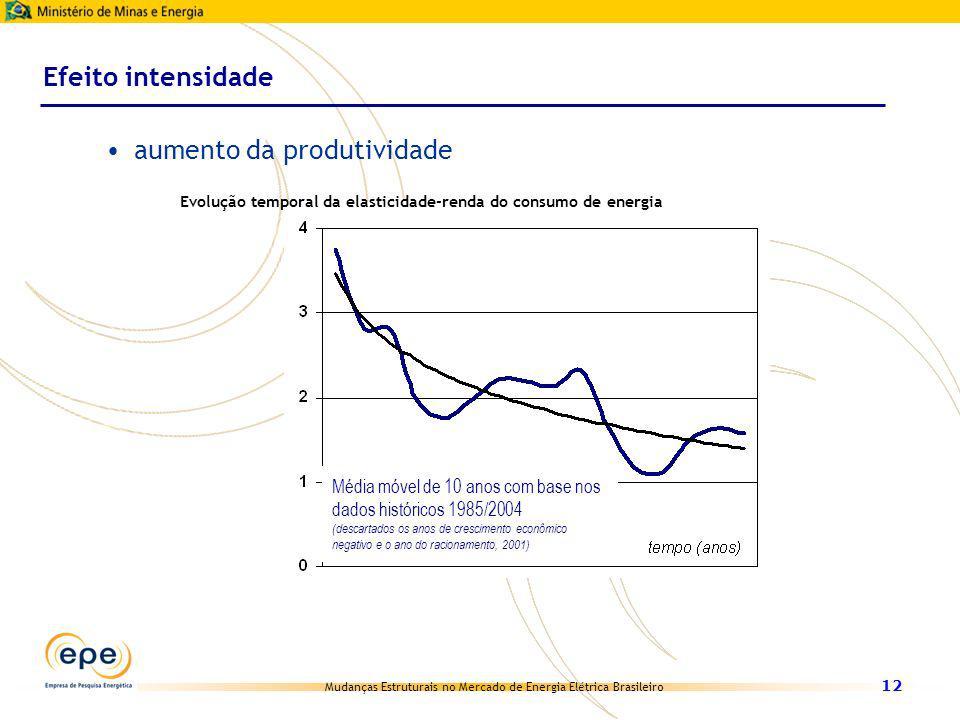 Mudanças Estruturais no Mercado de Energia Elétrica Brasileiro 12 Efeito intensidade aumento da produtividade Evolução temporal da elasticidade-renda