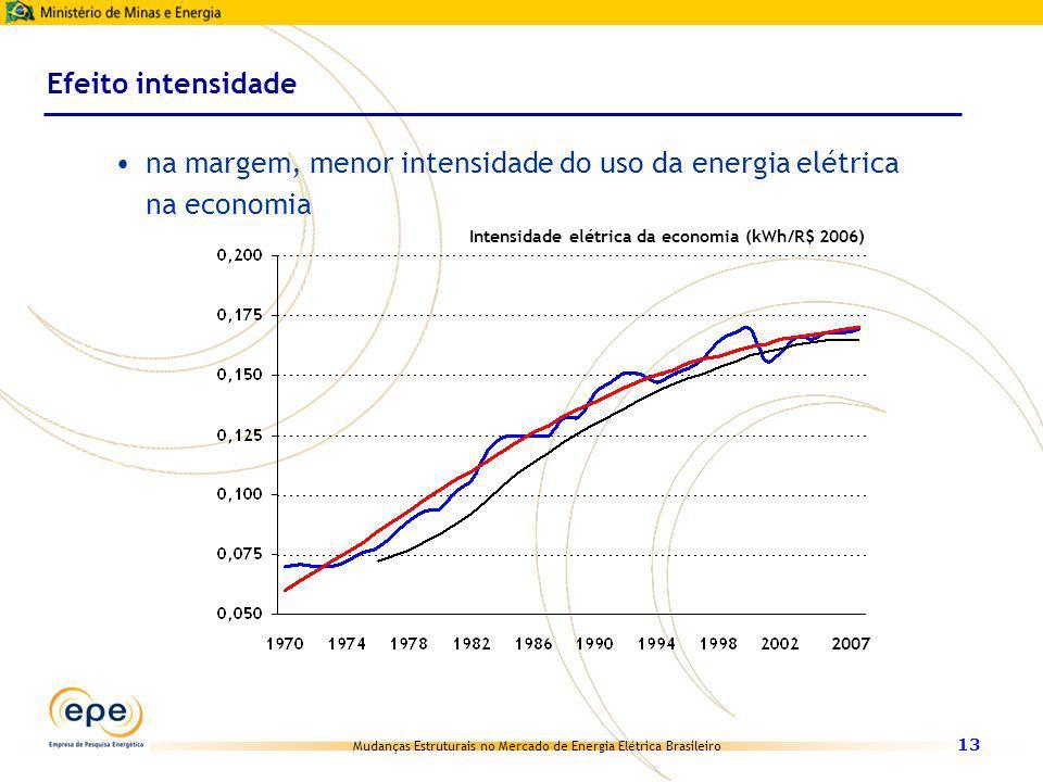 Mudanças Estruturais no Mercado de Energia Elétrica Brasileiro 13 Efeito intensidade na margem, menor intensidade do uso da energia elétrica na econom