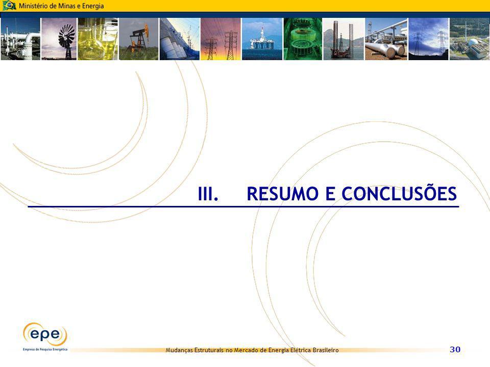 Mudanças Estruturais no Mercado de Energia Elétrica Brasileiro 30 III.RESUMO E CONCLUSÕES