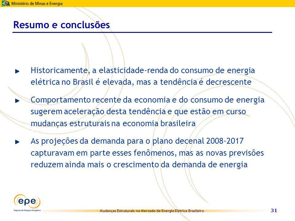 Mudanças Estruturais no Mercado de Energia Elétrica Brasileiro 31 Historicamente, a elasticidade-renda do consumo de energia elétrica no Brasil é elev