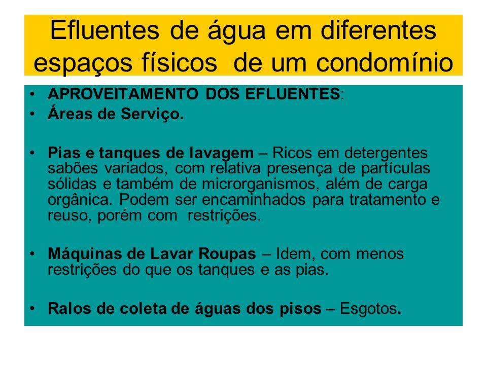 APROVEITAMENTO DOS EFLUENTES: Áreas de Serviço. Pias e tanques de lavagem – Ricos em detergentes sabões variados, com relativa presença de partículas