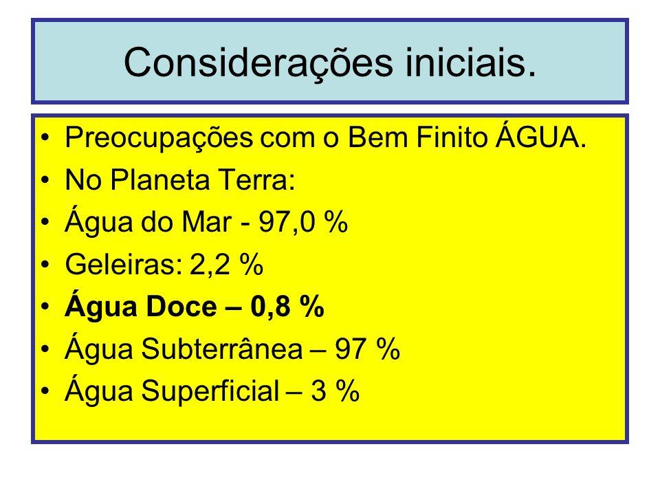 Considerações iniciais. Preocupações com o Bem Finito ÁGUA. No Planeta Terra: Água do Mar - 97,0 % Geleiras: 2,2 % Água Doce – 0,8 % Água Subterrânea