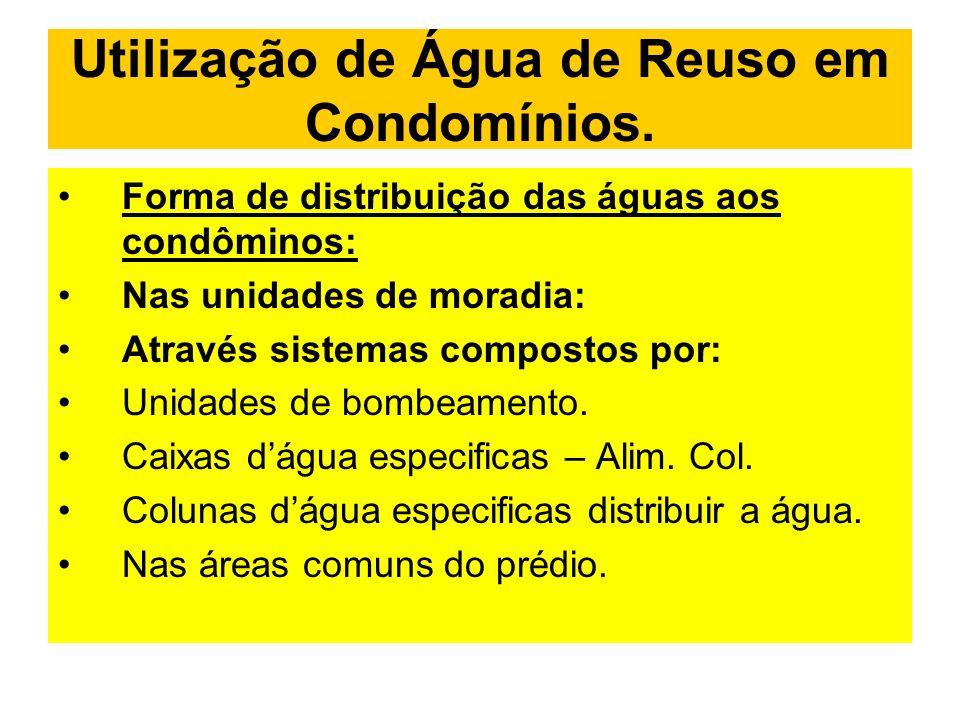 Utilização de Água de Reuso em Condomínios. Forma de distribuição das águas aos condôminos: Nas unidades de moradia: Através sistemas compostos por: U