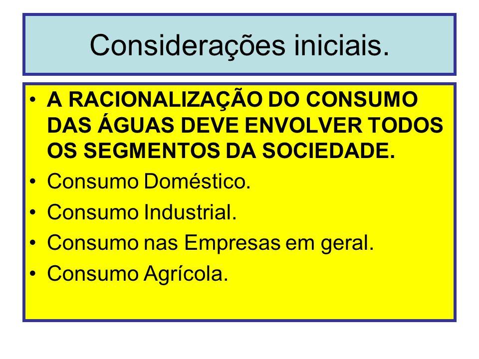 Considerações iniciais. A RACIONALIZAÇÃO DO CONSUMO DAS ÁGUAS DEVE ENVOLVER TODOS OS SEGMENTOS DA SOCIEDADE. Consumo Doméstico. Consumo Industrial. Co
