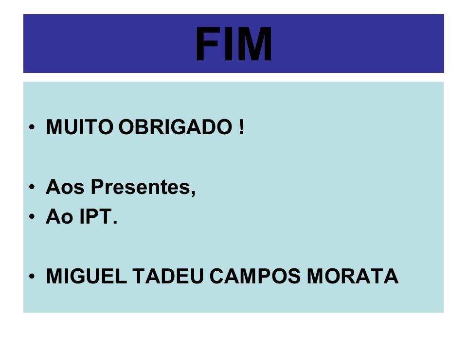 FIM MUITO OBRIGADO ! Aos Presentes, Ao IPT. MIGUEL TADEU CAMPOS MORATA
