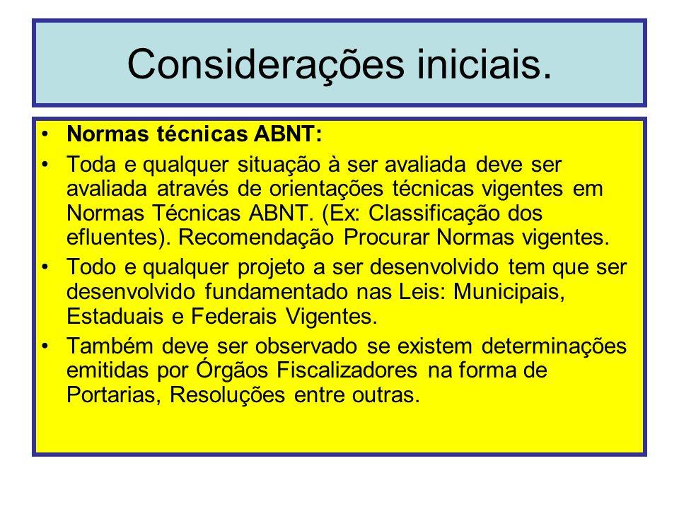 Considerações iniciais. Normas técnicas ABNT: Toda e qualquer situação à ser avaliada deve ser avaliada através de orientações técnicas vigentes em No