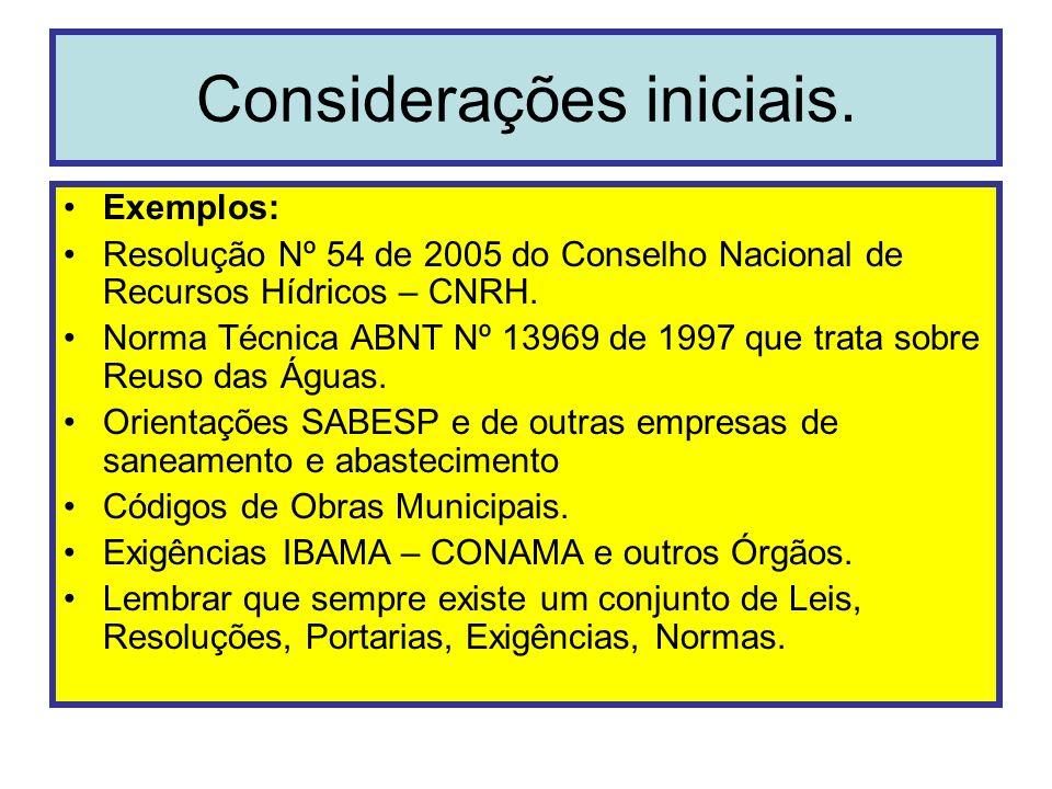 Exemplos: Resolução Nº 54 de 2005 do Conselho Nacional de Recursos Hídricos – CNRH. Norma Técnica ABNT Nº 13969 de 1997 que trata sobre Reuso das Água