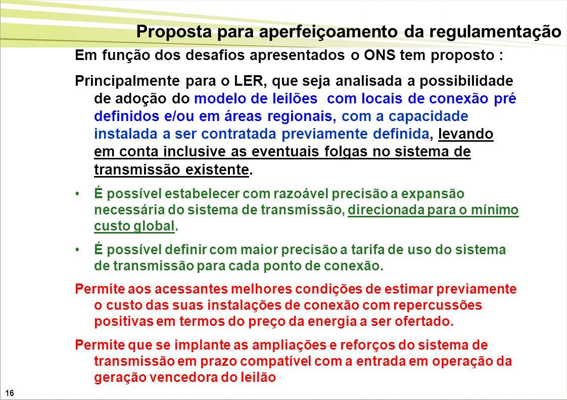 16 Em função dos desafios apresentados o ONS tem proposto : Principalmente para o LER, que seja analisada a possibilidade de adoção do modelo de leilõ