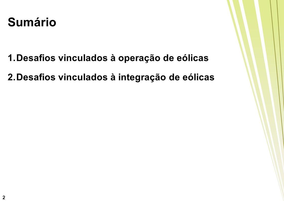 Sumário 1.Desafios vinculados à operação de eólicas 2.Desafios vinculados à integração de eólicas 2