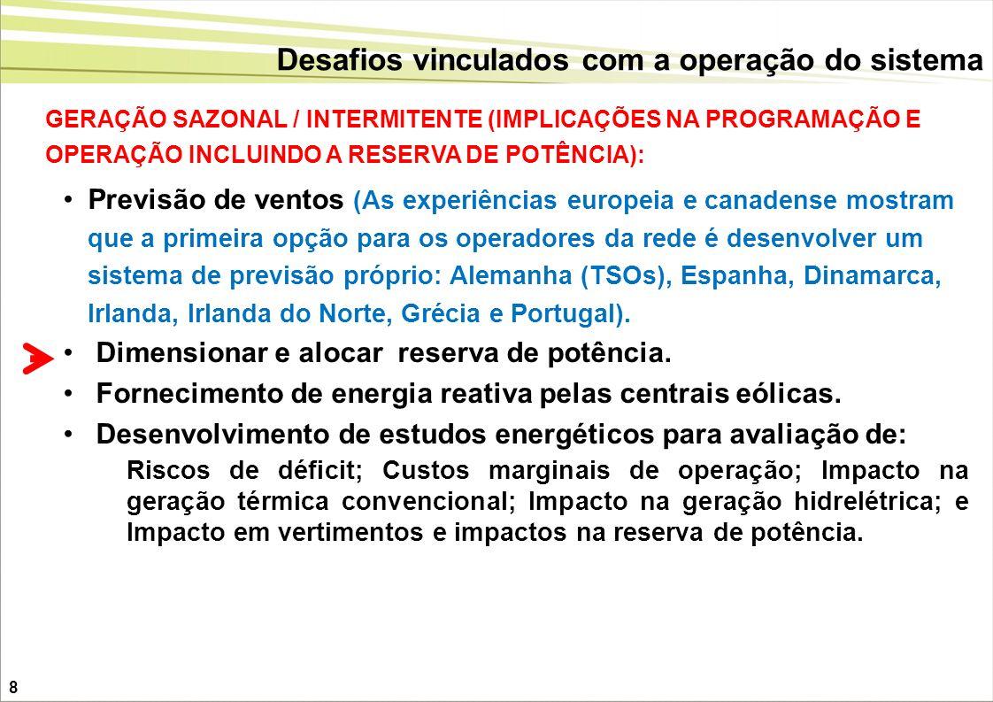 Desafios vinculados com a operação do sistema GERAÇÃO SAZONAL / INTERMITENTE (IMPLICAÇÕES NA PROGRAMAÇÃO E OPERAÇÃO INCLUINDO A RESERVA DE POTÊNCIA):
