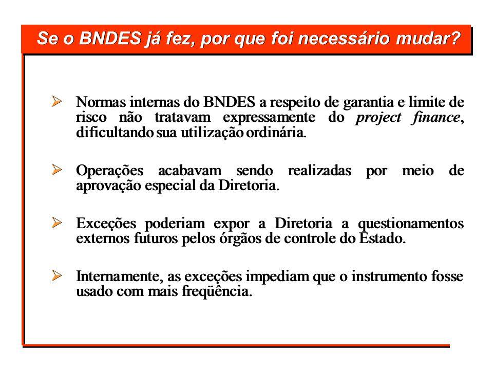 Se o BNDES já fez, por que foi necessário mudar? Normas internas do BNDES a respeito de garantia e limite de risco não tratavam expressamente do proje