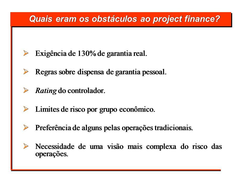 Quais eram os obstáculos ao project finance? Exigência de 130% de garantia real. Regras sobre dispensa de garantia pessoal. Rating do controlador. Lim
