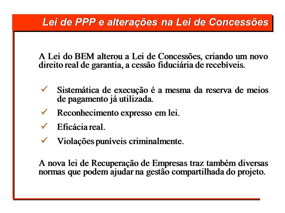Lei de PPP e alterações na Lei de Concessões A Lei do BEM alterou a Lei de Concessões, criando um novo direito real de garantia, a cessão fiduciária d