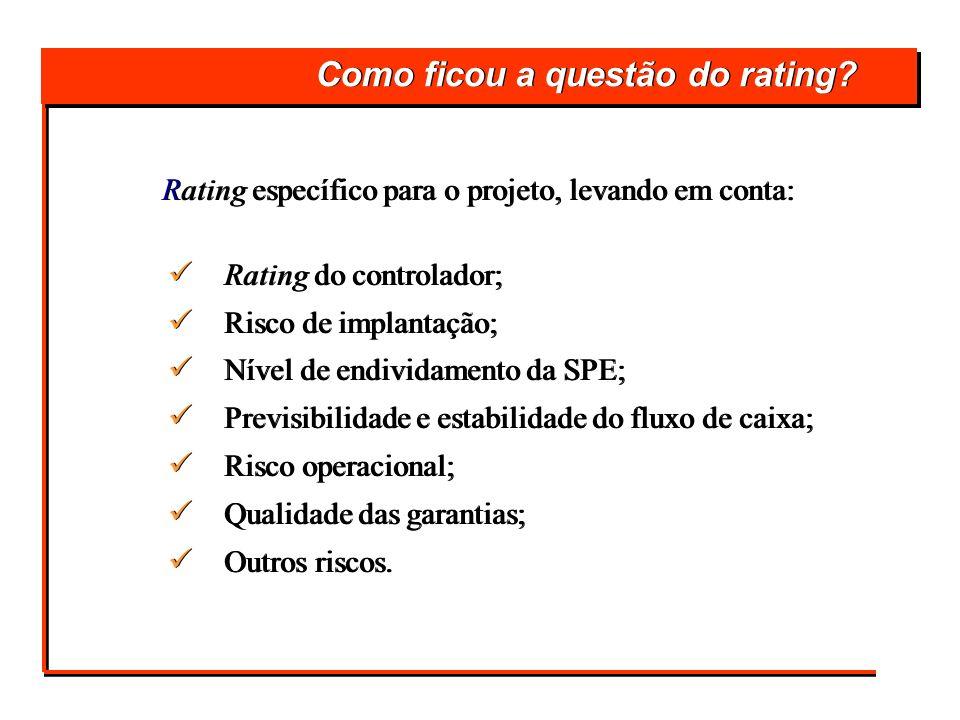 Como ficou a questão do rating? Rating específico para o projeto, levando em conta: Rating do controlador; Risco de implantação; Nível de endividament