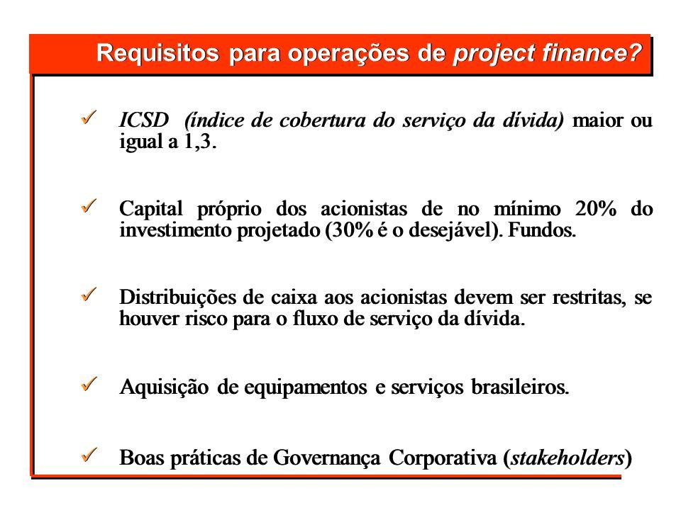 Requisitos para operações de project finance? ICSD (índice de cobertura do serviço da dívida) maior ou igual a 1,3. Capital próprio dos acionistas de
