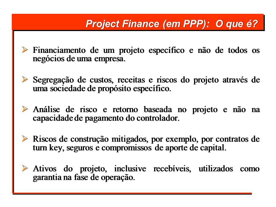 Project Finance (em PPP): O que é? Financiamento de um projeto específico e não de todos os negócios de uma empresa. Segregação de custos, receitas e