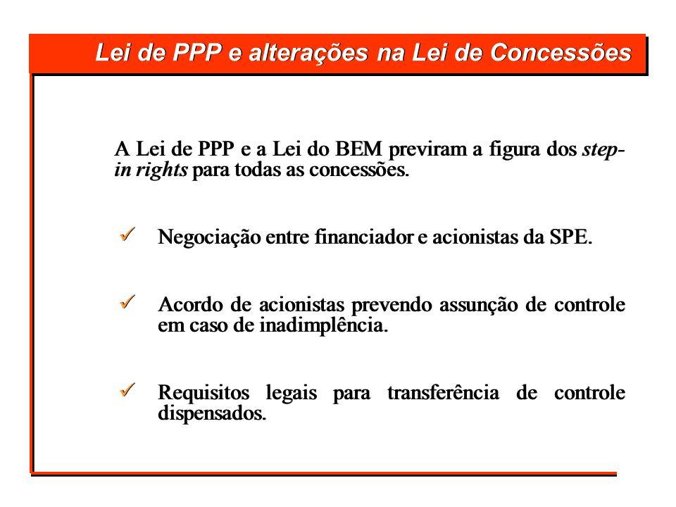 Lei de PPP e alterações na Lei de Concessões A Lei de PPP e a Lei do BEM previram a figura dos step- in rights para todas as concessões. Negociação en