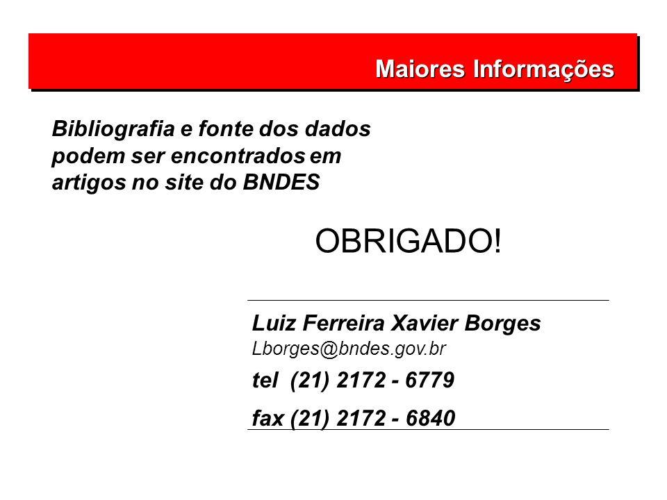 Maiores Informações Luiz Ferreira Xavier Borges Lborges@bndes.gov.br tel (21) 2172 - 6779 fax (21) 2172 - 6840 OBRIGADO! Bibliografia e fonte dos dado