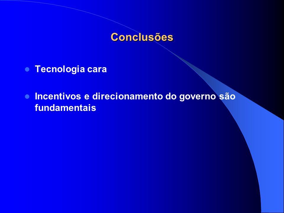 Conclusões Tecnologia cara Incentivos e direcionamento do governo são fundamentais