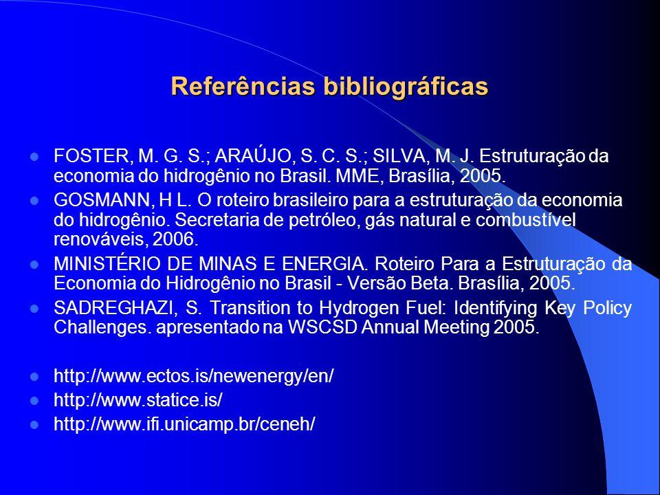 Referências bibliográficas FOSTER, M. G. S.; ARAÚJO, S. C. S.; SILVA, M. J. Estruturação da economia do hidrogênio no Brasil. MME, Brasília, 2005. GOS