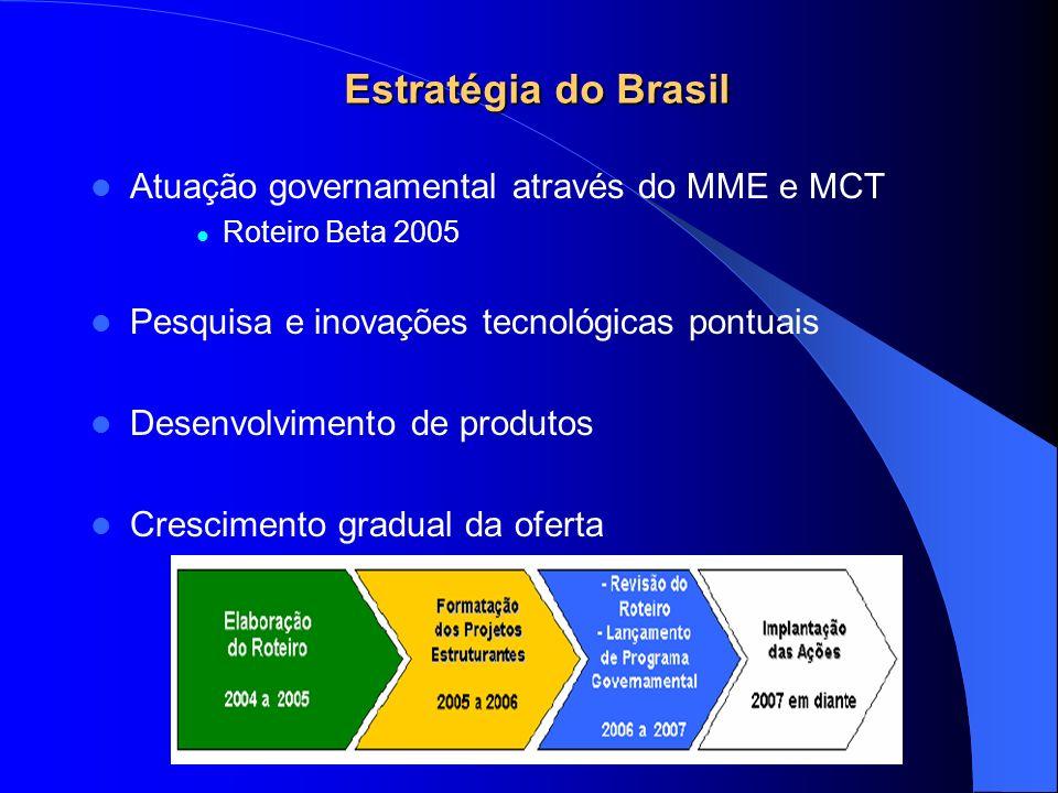 Estratégia do Brasil Atuação governamental através do MME e MCT Roteiro Beta 2005 Pesquisa e inovações tecnológicas pontuais Desenvolvimento de produt