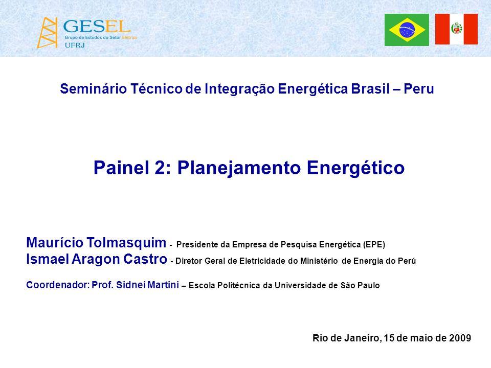 Seminário Técnico de Integração Energética Brasil – Peru Painel 2: Planejamento Energético Maurício Tolmasquim - Presidente da Empresa de Pesquisa Ene