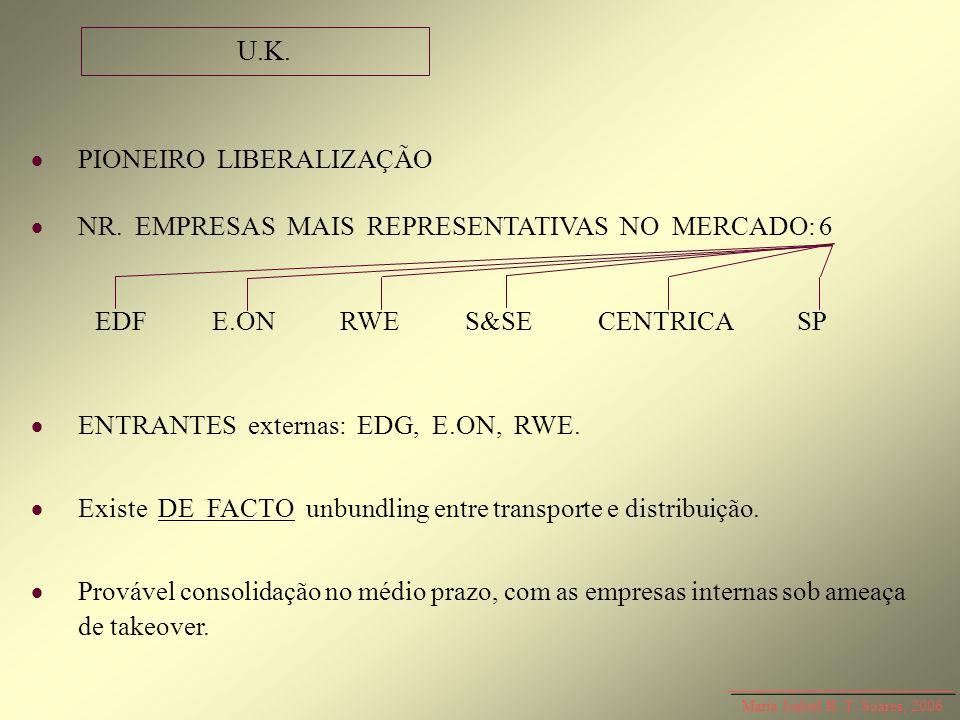 Maria Isabel R. T. Soares, 2006 PIONEIRO LIBERALIZAÇÃO NR. EMPRESAS MAIS REPRESENTATIVAS NO MERCADO: 6 ENTRANTES externas: EDG, E.ON, RWE. Existe DE F
