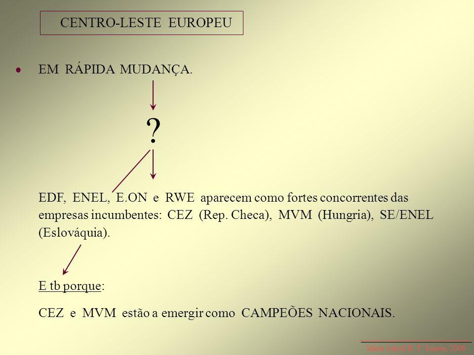 EM RÁPIDA MUDANÇA. ? EDF, ENEL, E.ON e RWE aparecem como fortes concorrentes das empresas incumbentes: CEZ (Rep. Checa), MVM (Hungria), SE/ENEL (Eslov