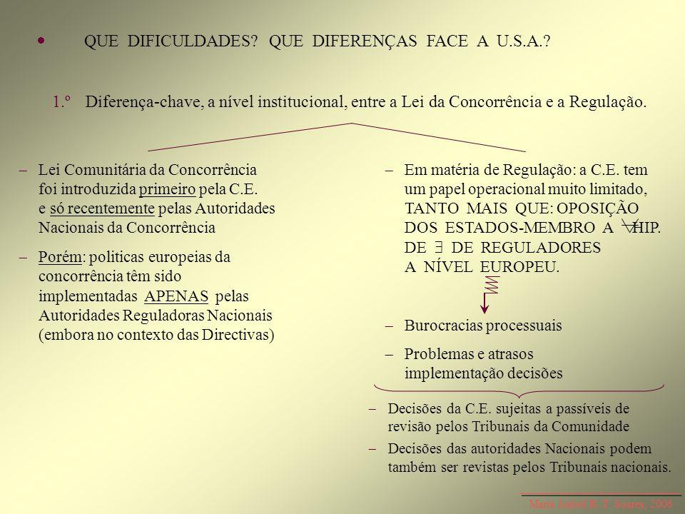 QUE DIFICULDADES? QUE DIFERENÇAS FACE A U.S.A.? 1.ºDiferença-chave, a nível institucional, entre a Lei da Concorrência e a Regulação. Lei Comunitária