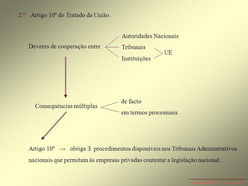 Maria Isabel R. T. Soares, 2006 2.ºArtigo 10º do Tratado da União. Deveres de cooperação entre Consequências múltiplas Autoridades Nacionais Tribunais