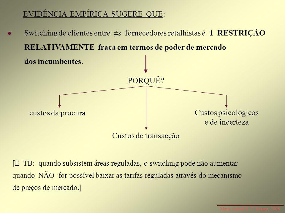 Maria Isabel R. T. Soares, 2006 EVIDÊNCIA EMPÍRICA SUGERE QUE: Switching de clientes entre s fornecedores retalhistas é 1 RESTRIÇÃO RELATIVAMENTE frac
