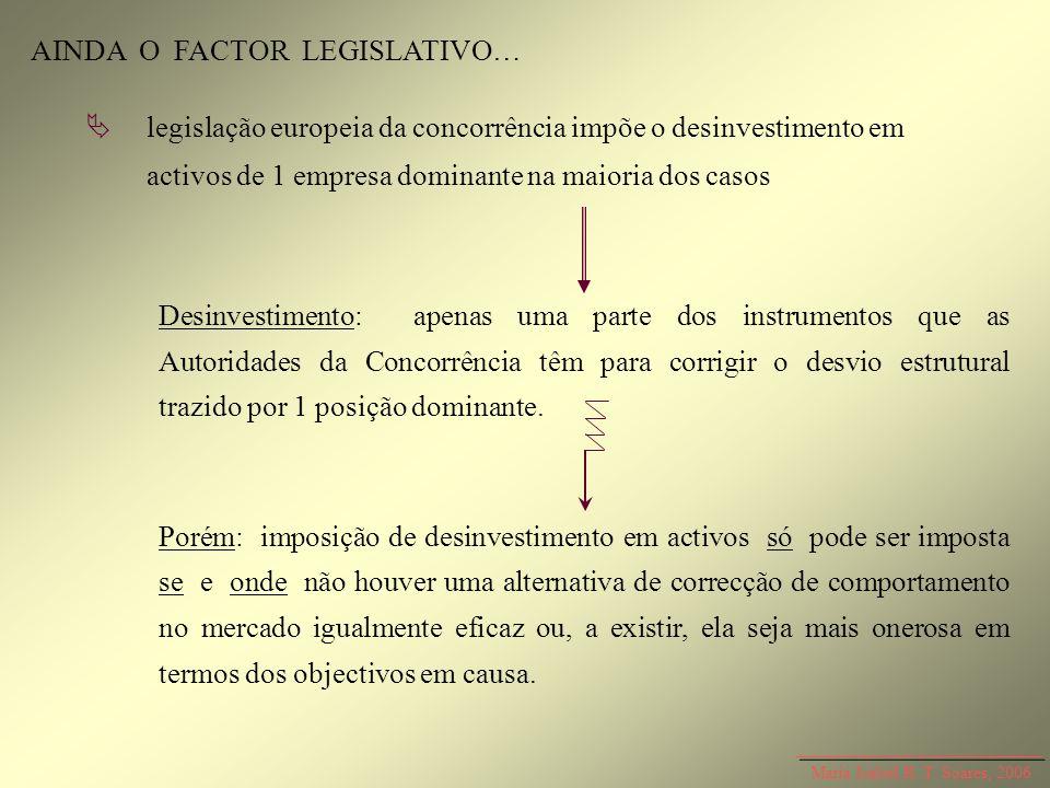 Maria Isabel R. T. Soares, 2006 AINDA O FACTOR LEGISLATIVO… Desinvestimento: apenas uma parte dos instrumentos que as Autoridades da Concorrência têm