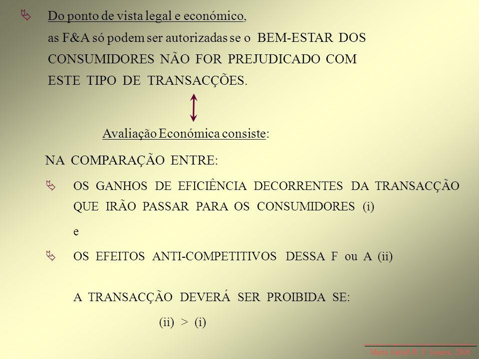 Maria Isabel R. T. Soares, 2006 Do ponto de vista legal e económico, as F&A só podem ser autorizadas se o BEM-ESTAR DOS CONSUMIDORES NÃO FOR PREJUDICA