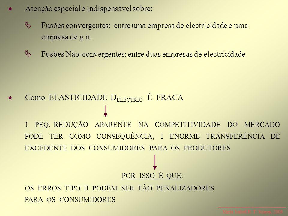 Maria Isabel R. T. Soares, 2006 Atenção especial e indispensável sobre: Como ELASTICIDADE D ELECTRIC. É FRACA Fusões convergentes: entre uma empresa d