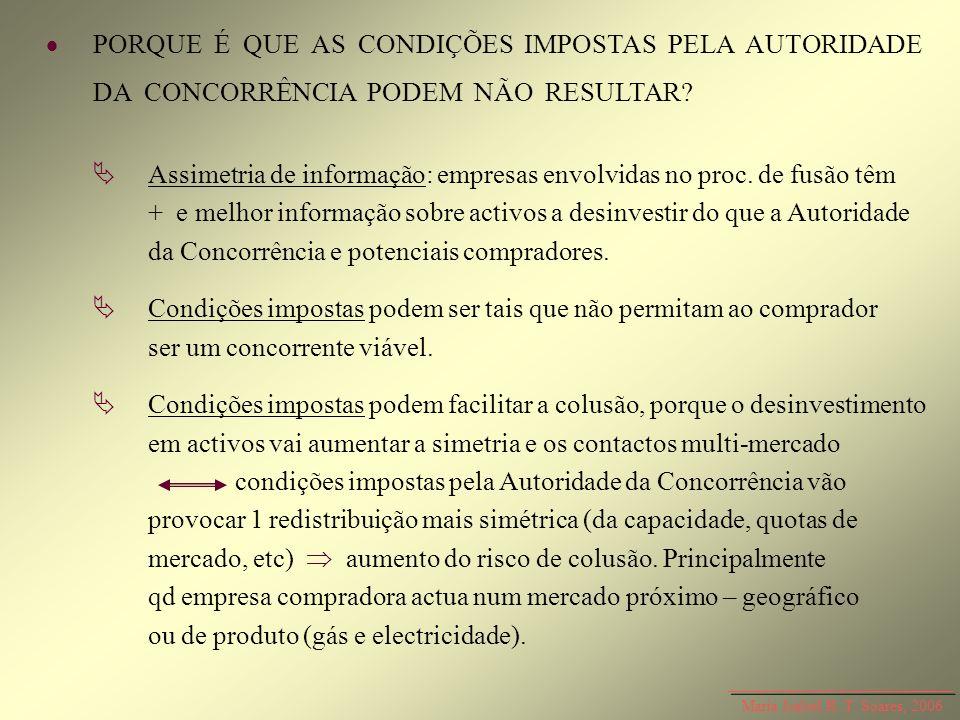 Maria Isabel R. T. Soares, 2006 PORQUE É QUE AS CONDIÇÕES IMPOSTAS PELA AUTORIDADE DA CONCORRÊNCIA PODEM NÃO RESULTAR? Assimetria de informação: empre