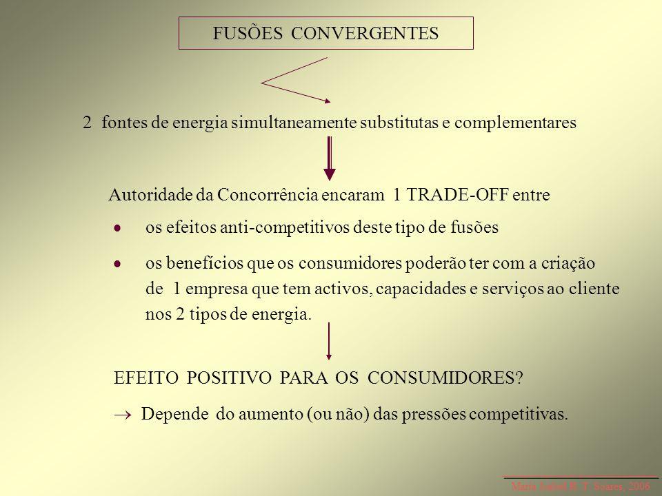 Maria Isabel R. T. Soares, 2006 FUSÕES CONVERGENTES 2 fontes de energia simultaneamente substitutas e complementares Autoridade da Concorrência encara