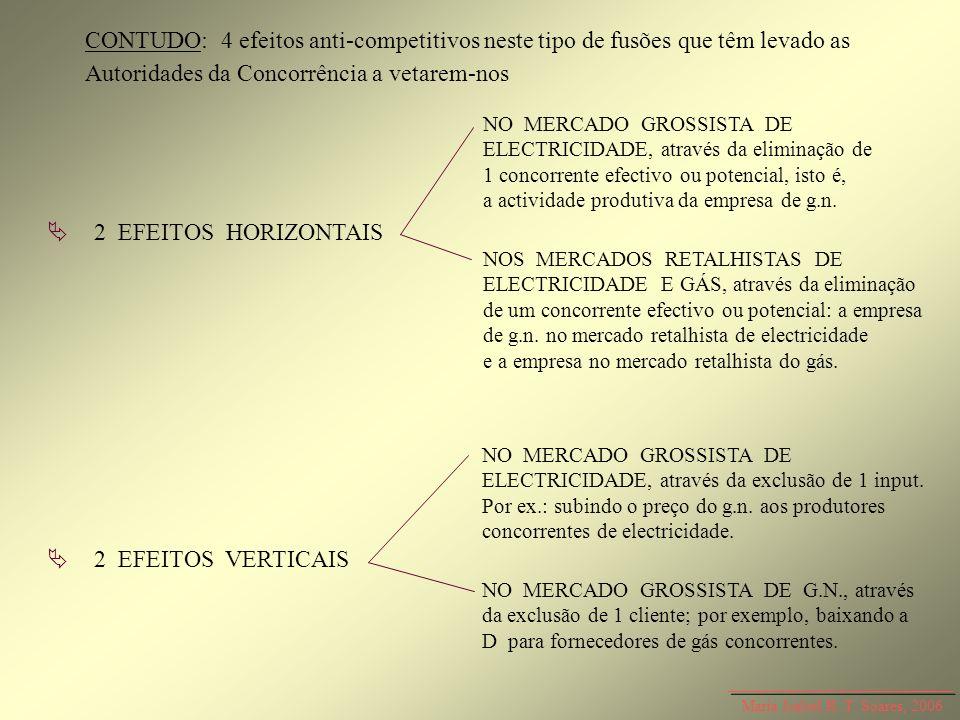 Maria Isabel R. T. Soares, 2006 CONTUDO: 4 efeitos anti-competitivos neste tipo de fusões que têm levado as Autoridades da Concorrência a vetarem-nos