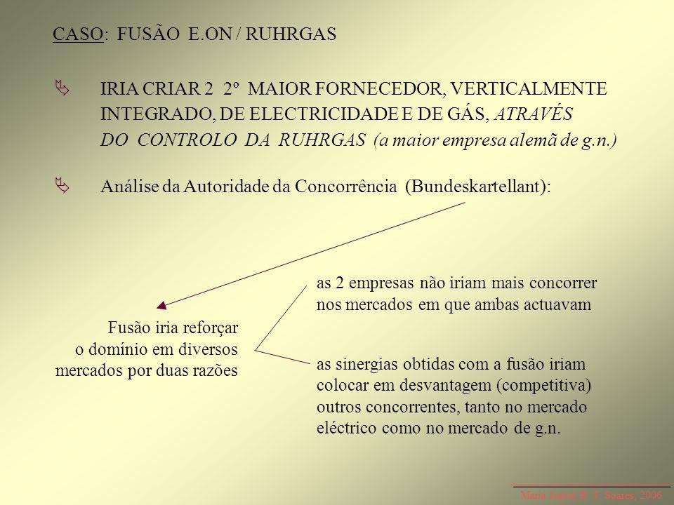 Maria Isabel R. T. Soares, 2006 CASO: FUSÃO E.ON / RUHRGAS IRIA CRIAR 2 2º MAIOR FORNECEDOR, VERTICALMENTE INTEGRADO, DE ELECTRICIDADE E DE GÁS, ATRAV