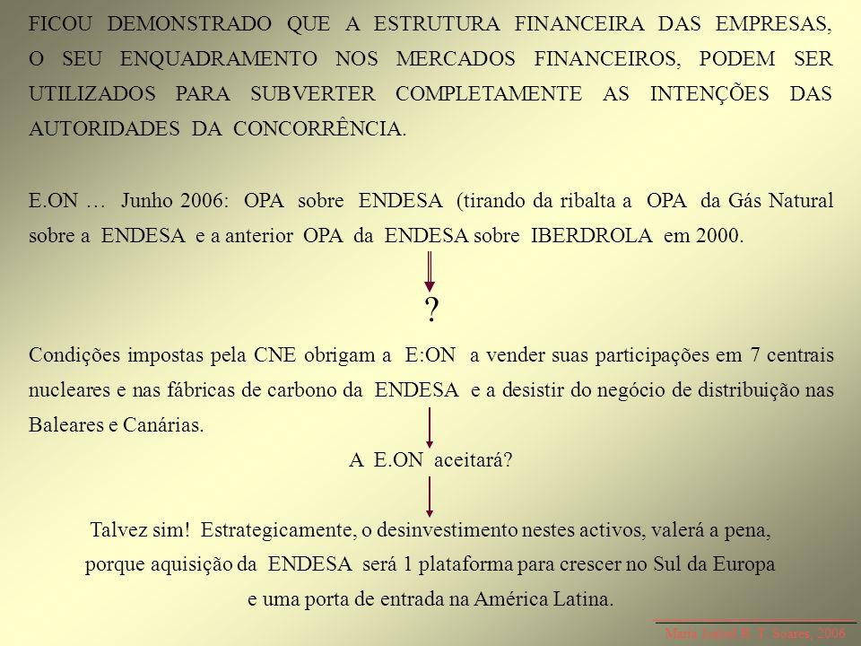 Maria Isabel R. T. Soares, 2006 FICOU DEMONSTRADO QUE A ESTRUTURA FINANCEIRA DAS EMPRESAS, O SEU ENQUADRAMENTO NOS MERCADOS FINANCEIROS, PODEM SER UTI