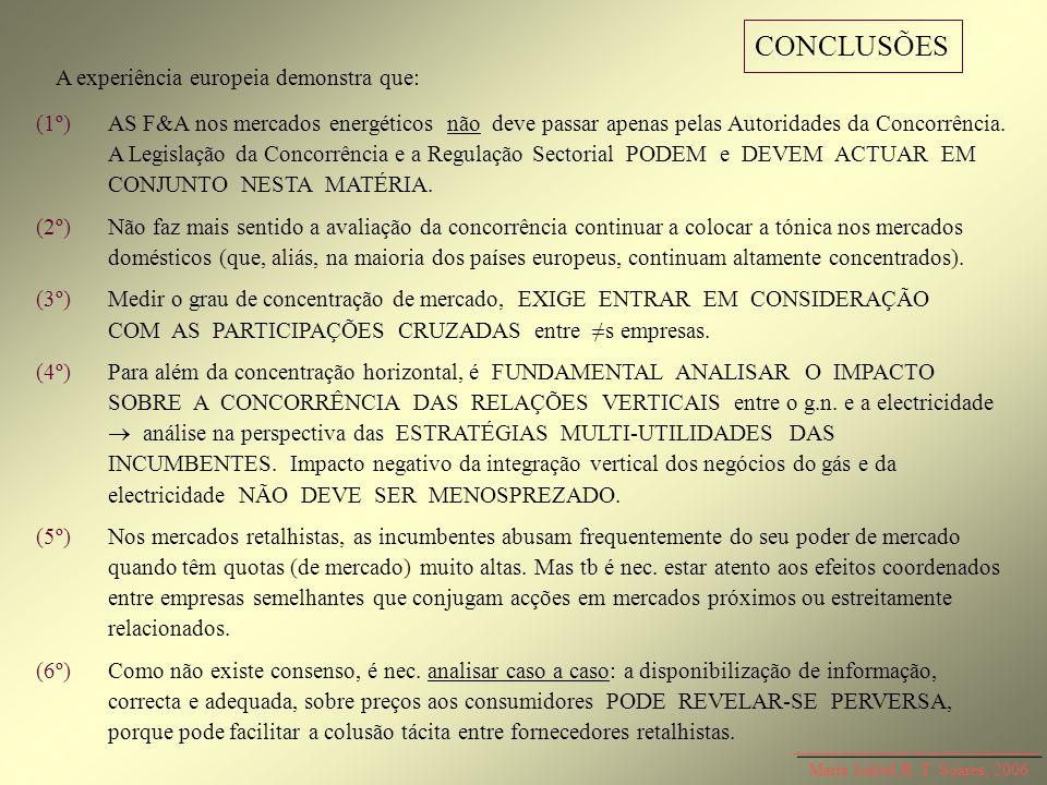 Maria Isabel R. T. Soares, 2006 CONCLUSÕES A experiência europeia demonstra que: (1º)AS F&A nos mercados energéticos não deve passar apenas pelas Auto