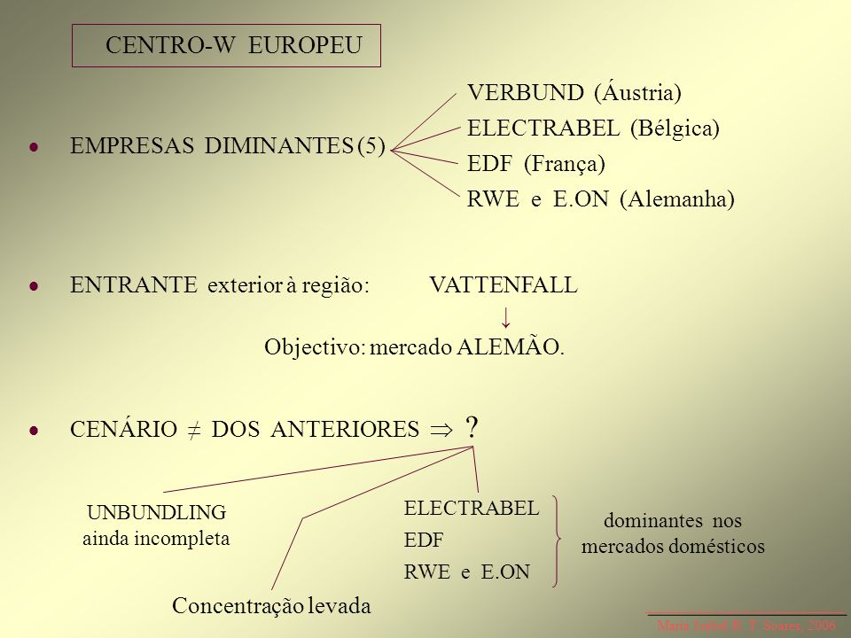 Maria Isabel R. T. Soares, 2006 EMPRESAS DIMINANTES (5) ENTRANTE exterior à região: VATTENFALL Objectivo: mercado ALEMÃO. CENÁRIO DOS ANTERIORES ? CEN